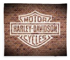 Vintage Harley Davidson Logo Painted On Old Brick Wall Fleece Blanket