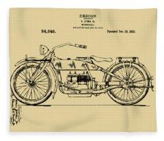 Vintage Harley-davidson Motorcycle 1919 Patent Artwork Fleece Blanket