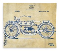 Vintage Harley-davidson Motorcycle 1919 Patent Artwork Fleece Blanket