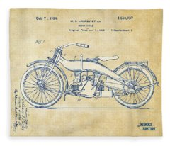 Vintage Harley-davidson Motorcycle 1924 Patent Artwork Fleece Blanket