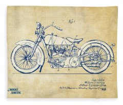 Vintage Harley-davidson Motorcycle 1928 Patent Artwork Fleece Blanket