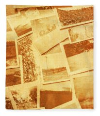 Vintage Image Of Various Photographs On Table  Fleece Blanket
