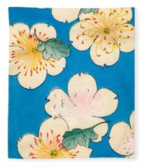 Vintage Japanese Illustration Of Dogwood Blossoms Fleece Blanket