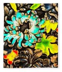 Vintage Japanese Panel With Lilies Chrysanthemums And Peonies Fleece Blanket