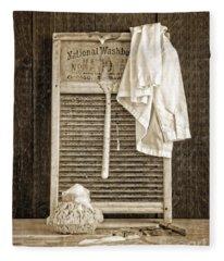 Vintage Laundry Room Fleece Blanket