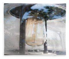 Vintage Light Bulb In An Old Glass Lantern In Sheboygan Wisconsin Fleece Blanket