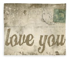 Vintage Love Letters Fleece Blanket
