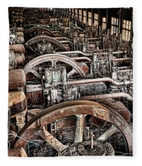 Vintage Machinery Fleece Blanket