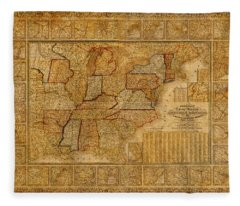 Vintage Map Of The United States Of America Usa Circa 1845 On Worn Distressed Parchment Fleece Blanket