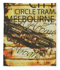 Vintage Melbourne Tram Tin Sign Fleece Blanket