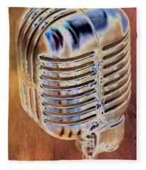 Vintage Microphone Fleece Blanket