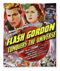 Vintage Movie Posters, Flash Godon Conquers The Universe Fleece Blanket