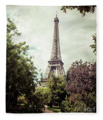 Vintage Paris Fleece Blanket