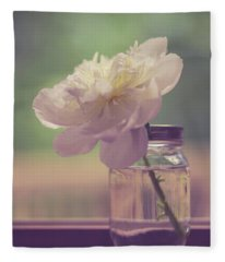 Vintage Peony Flower Still Life Fleece Blanket