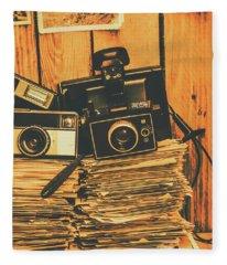 Vintage Photography Stack Fleece Blanket