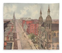 Vintage Print Of Fifth Avenue From 42nd Street In New York City, Looking North, 1904 Fleece Blanket