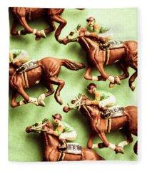 Vintage Racehorse Art Fleece Blanket