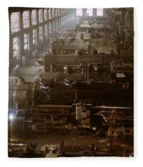 Vintage Railroad Locomotive Shop - 1942 Fleece Blanket