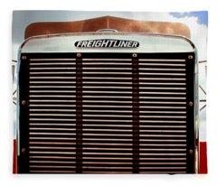 Vintage Red Freightliner Truck Fleece Blanket