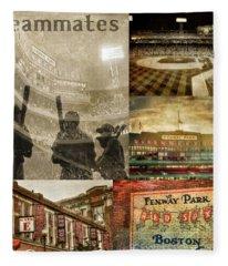 Vintage Red Sox Fenway Park Baseball Collage Fleece Blanket