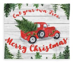 Vintage Red Truck Christmas-b Fleece Blanket