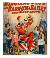 Vintage Ringling Brothers And Barnum And Bailey Combined Circus Fleece Blanket