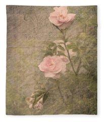 Vintage Rose Poster Fleece Blanket