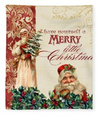 Vintage Santa Claus - Glittering Christmas Fleece Blanket