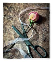 Vintage Scissors, Dried Pink Rose And Ribbon Fleece Blanket