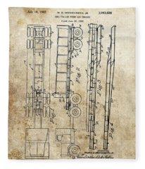 Vintage Semi Trailer Truck Patent Fleece Blanket