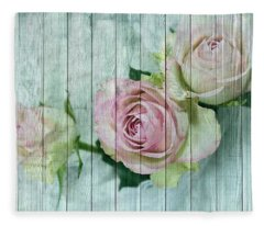 Vintage Shabby Chic Pink Roses On Wood Fleece Blanket