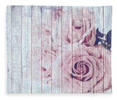 Vintage Shabby Chic Dusky Pink Roses On Blue Wood Effect Background Fleece Blanket