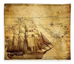 Vintage Ship Map Fleece Blanket