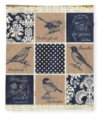 Vintage Songbird Patch 2 Fleece Blanket