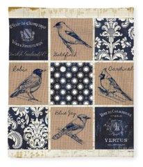 Vintage Songbirds Patch Fleece Blanket