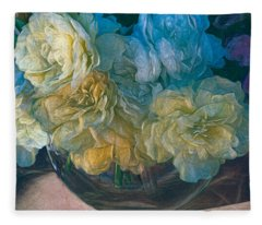 Vintage Still Life Bouquet Painting Fleece Blanket