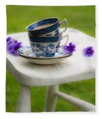 Vintage Teacups Fleece Blanket
