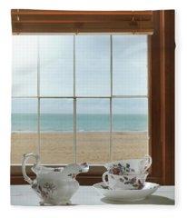 Vintage Teacups In The Window Fleece Blanket