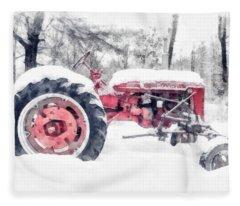 Vintage Tractor Christmas Fleece Blanket