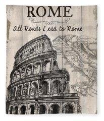 Vintage Travel Poster Fleece Blanket