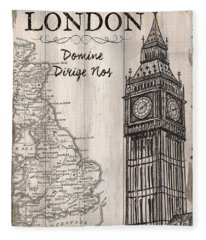 Vintage Travel Poster London Fleece Blanket