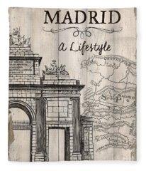 Vintage Travel Poster Madrid Fleece Blanket