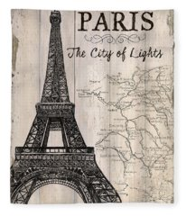 Vintage Travel Poster Paris Fleece Blanket