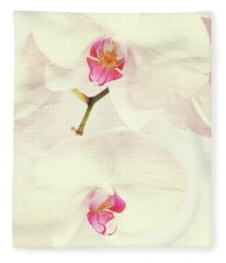 Vintage White Orchids Fleece Blanket