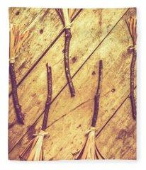 Vintage Witches Broomsticks Fleece Blanket