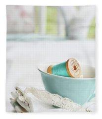 Vintage Wooden Spools Of Thread In Vintage Tea Cup Fleece Blanket