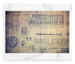 Vintage Yankee Stadium Blueprint Fleece Blanket