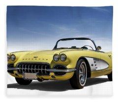 Vintage Yellow 'vette Fleece Blanket