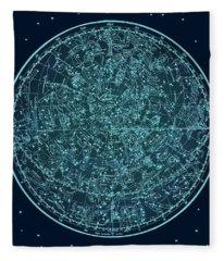 Vintage Zodiac Map - Teal Blue Fleece Blanket