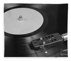 Vinyl Record Playing On A Turntable Overview Fleece Blanket